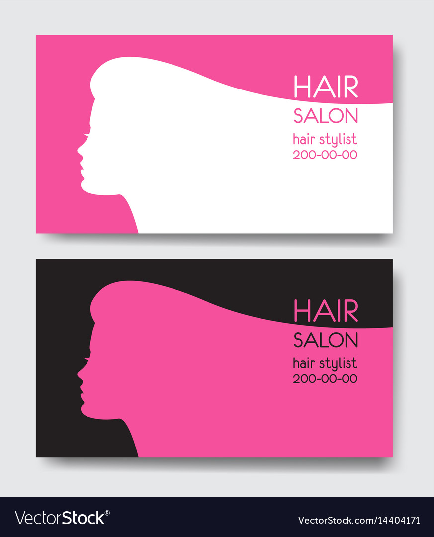 Hair salon business card templates with beautiful vector image wajeb