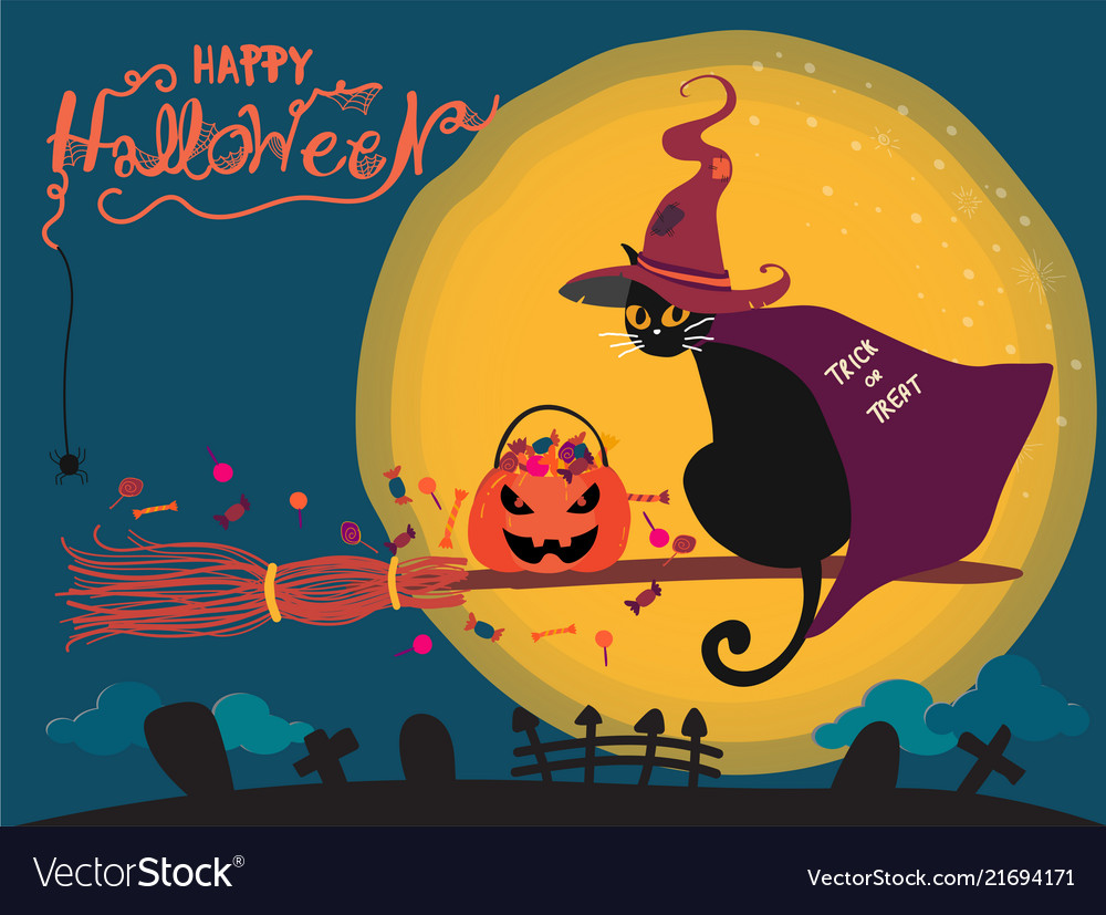 Halloween card with cute black cat riding on a