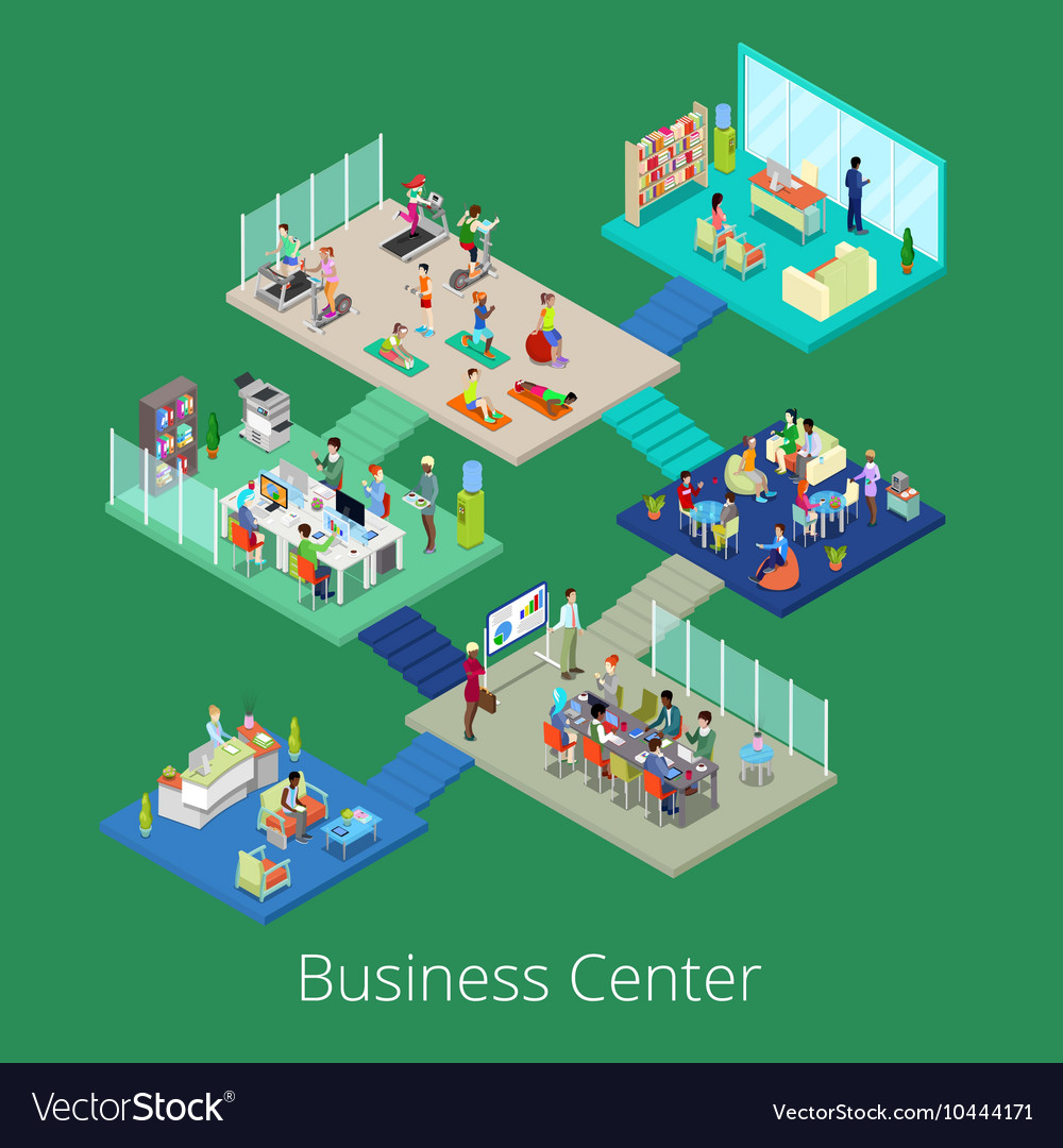 Isometric Business Office Center Building Interior