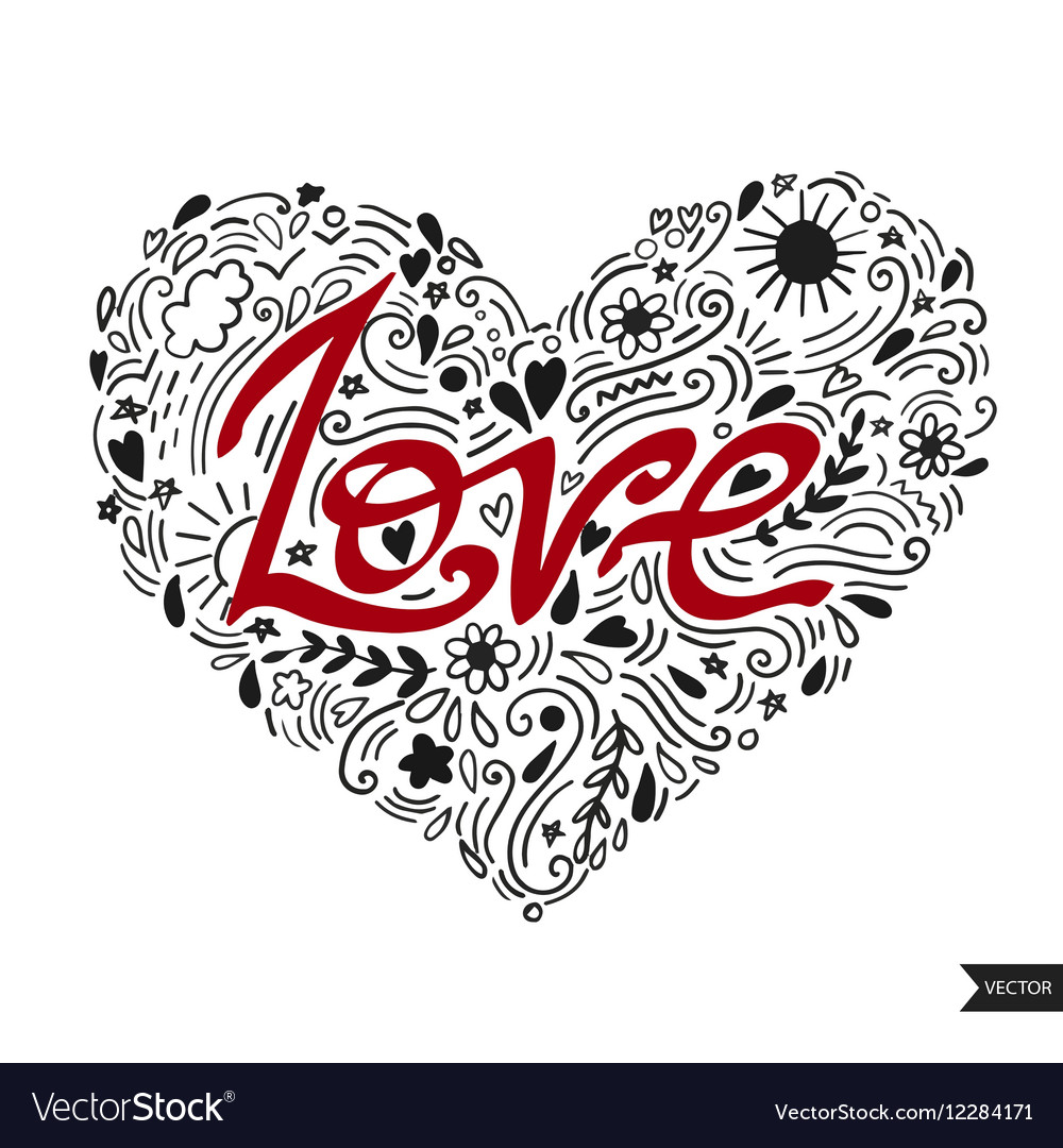 Love postcard Lettering Love Ink Modern brush