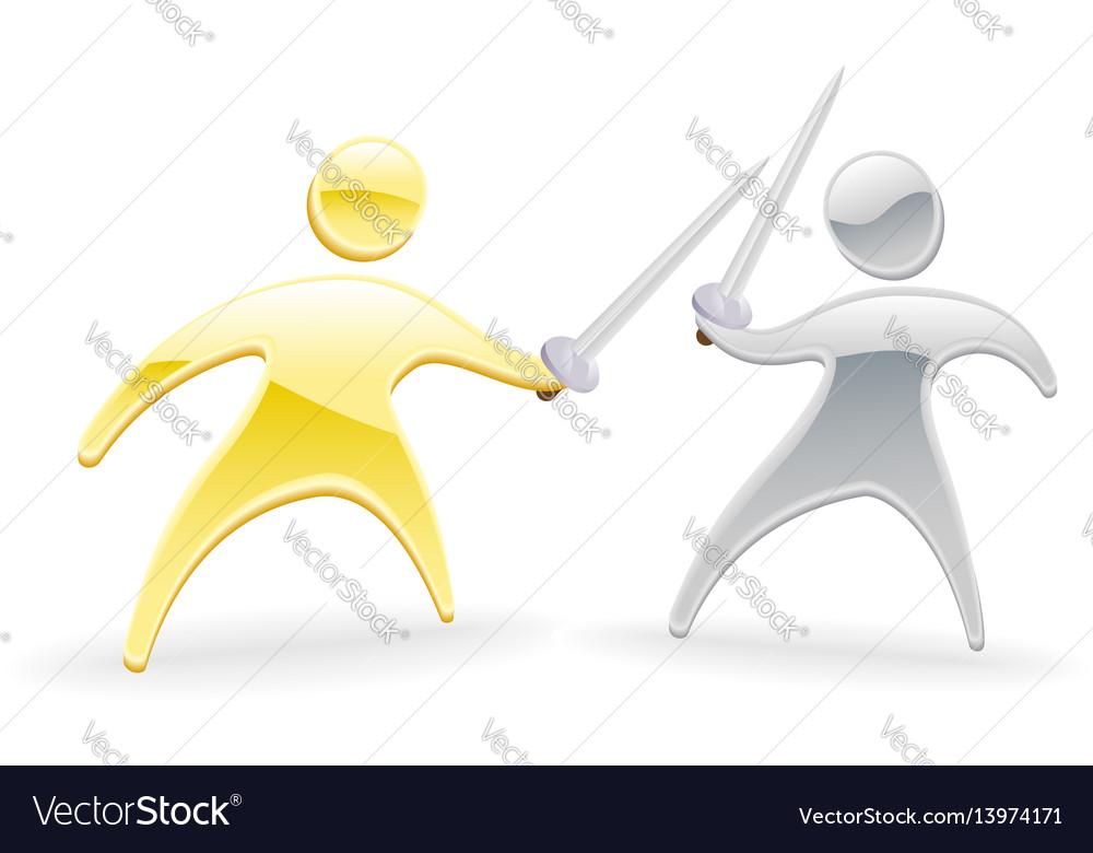 Metallic character swordfight vector image