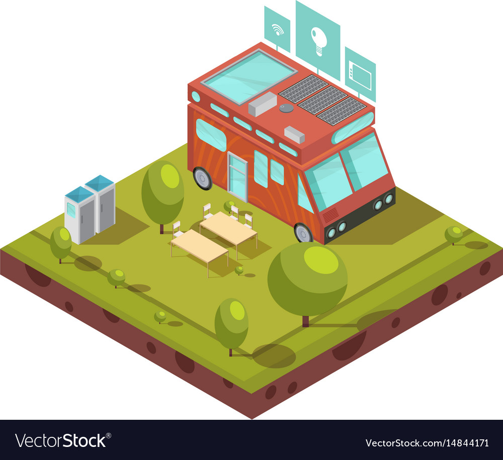 Mobile home isometric composition