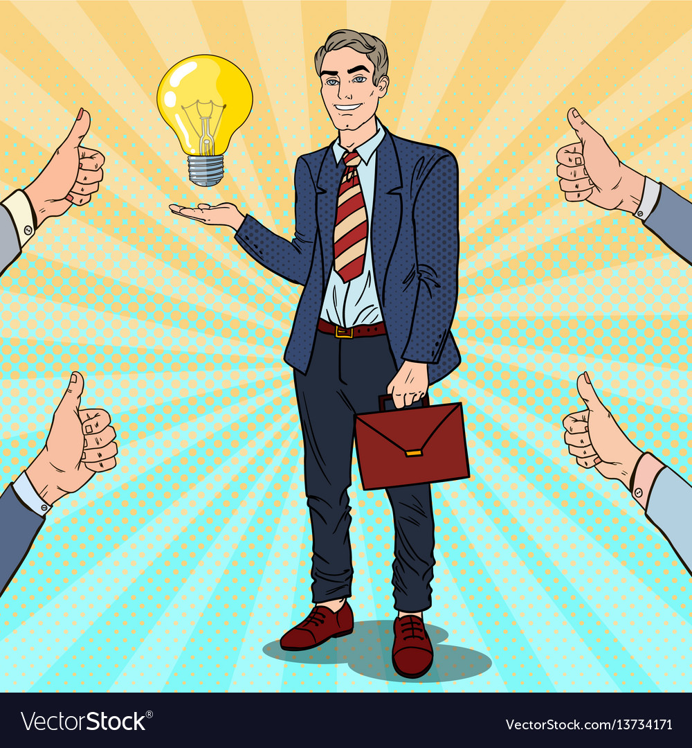 Pop art businessman with creative idea light bulb vector image