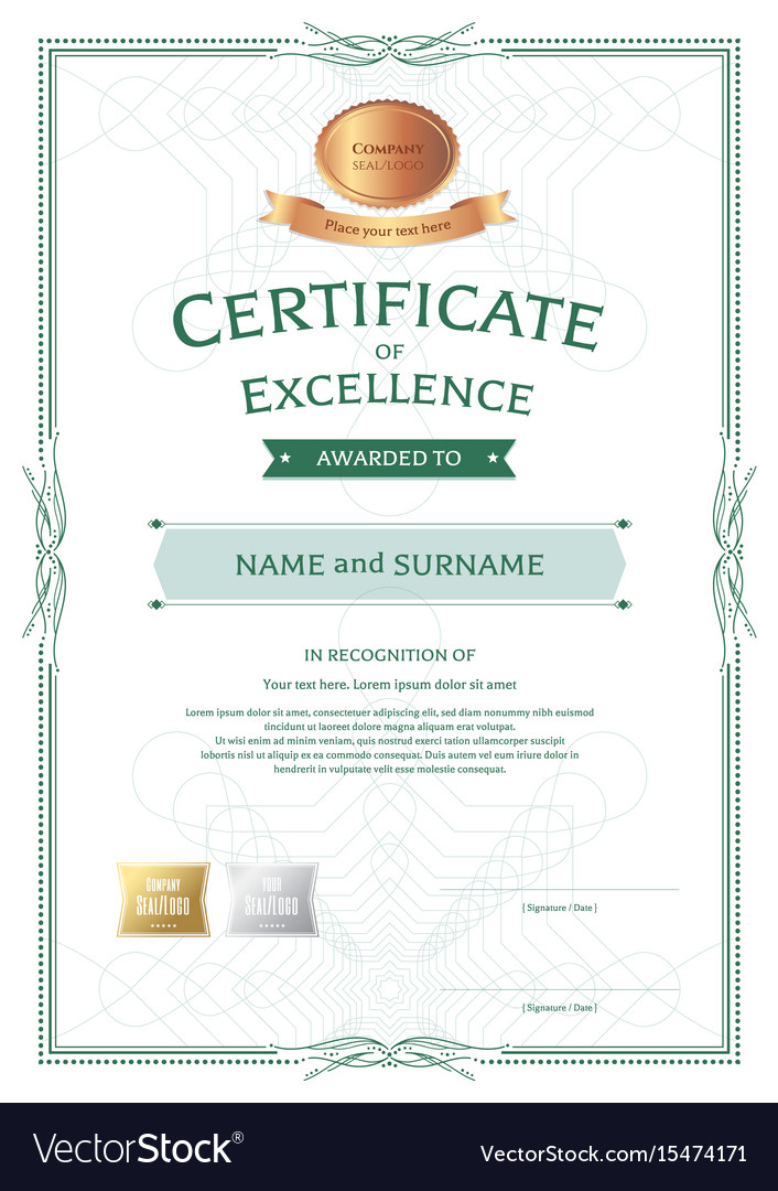 portrait certificate of appreciation template vector image