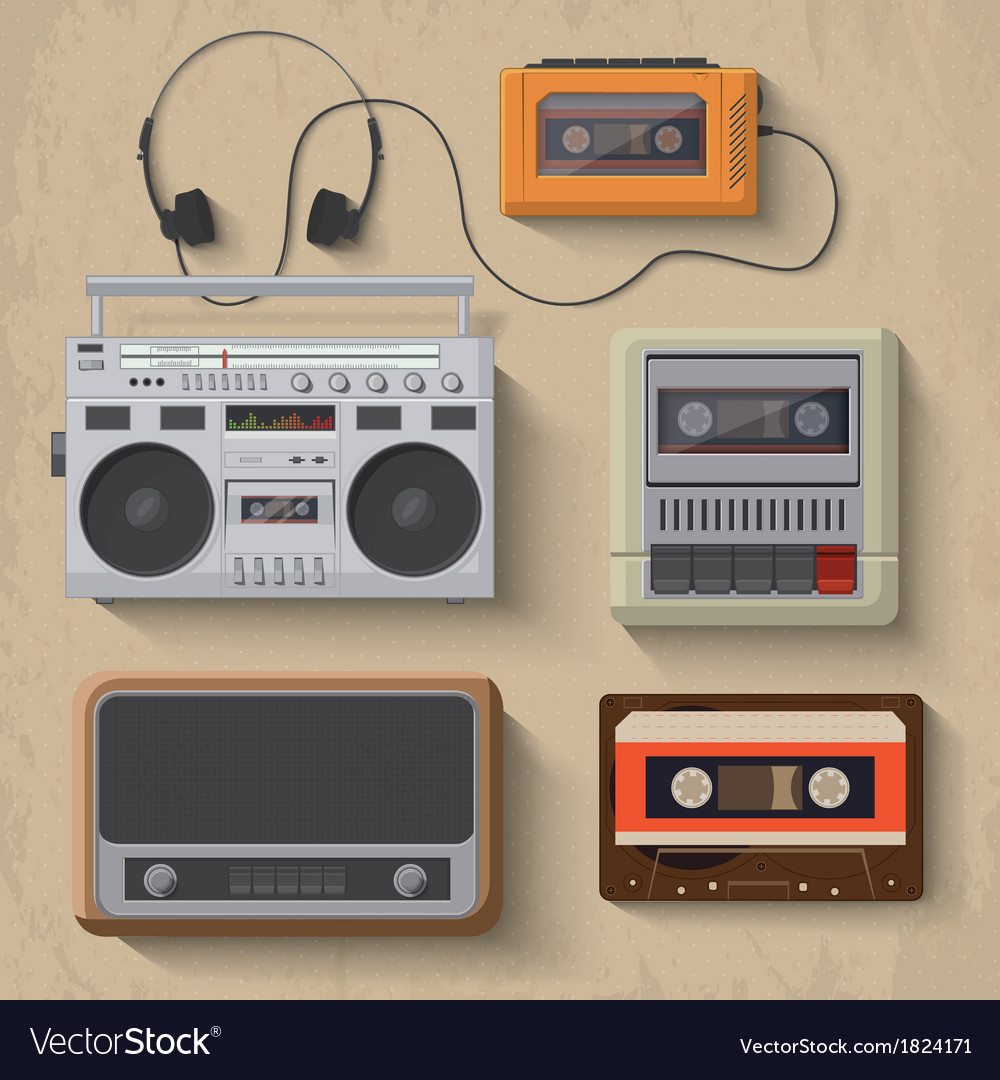 Retro music player icon set