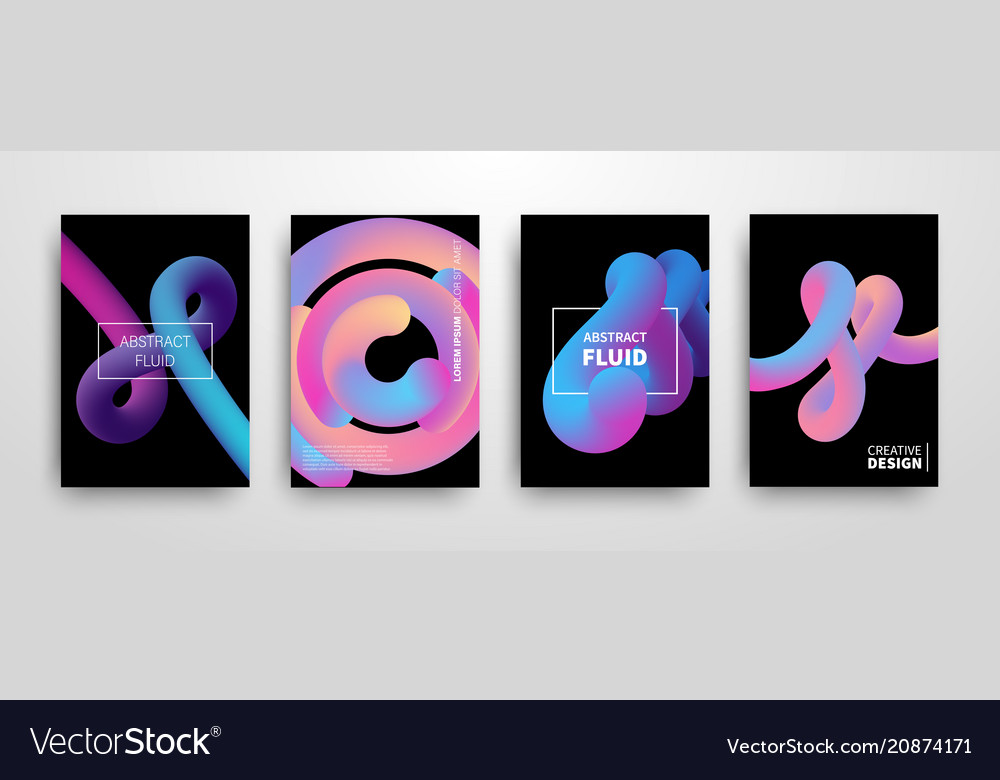 Set of abstract 3d liquid color shapes