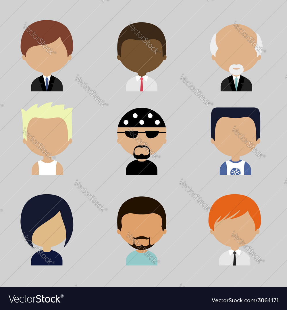 Set of Men Faces Icons in Flat Design