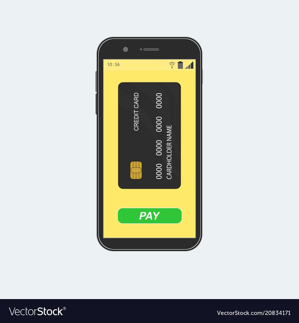 Smartphone with credit card and pay button