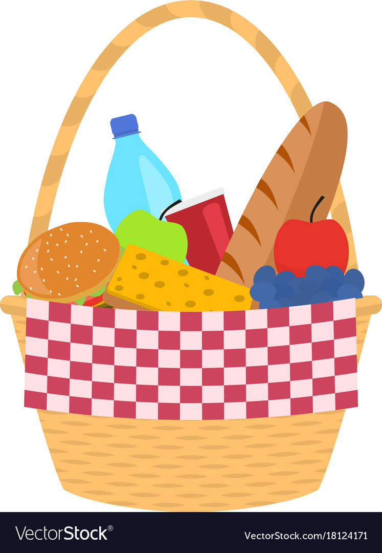 Wicker Picnic Basket With A Blanket Royalty Free Vector