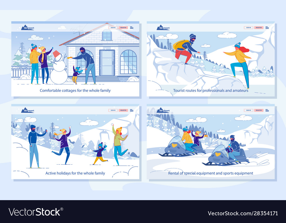 Winter family tourism and travel advertising set