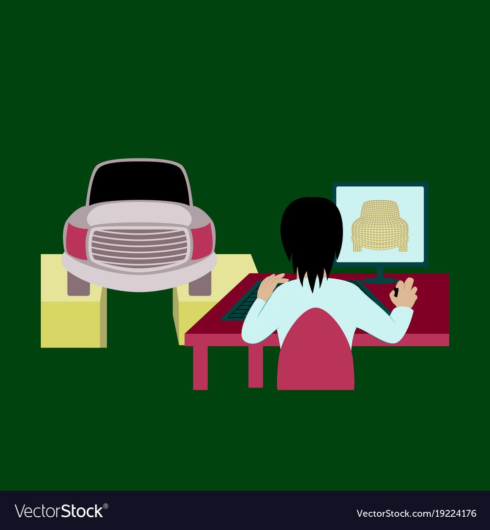 Car service computer diagnostics vector image