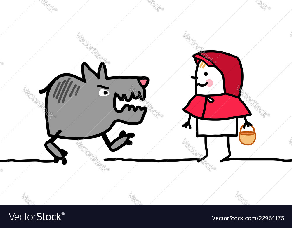 Cartoon Characters Little Red Riding Hood Vector Image