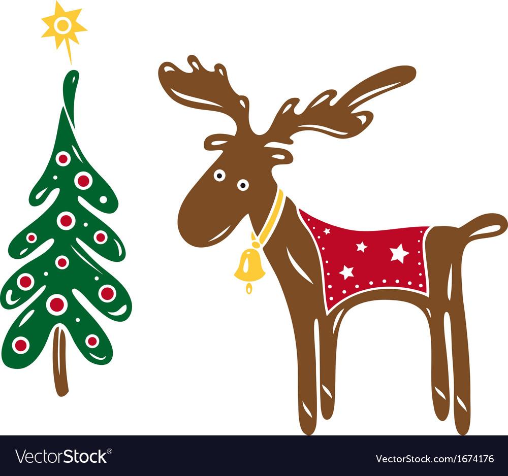 christmas moose vector image - Christmas Moose