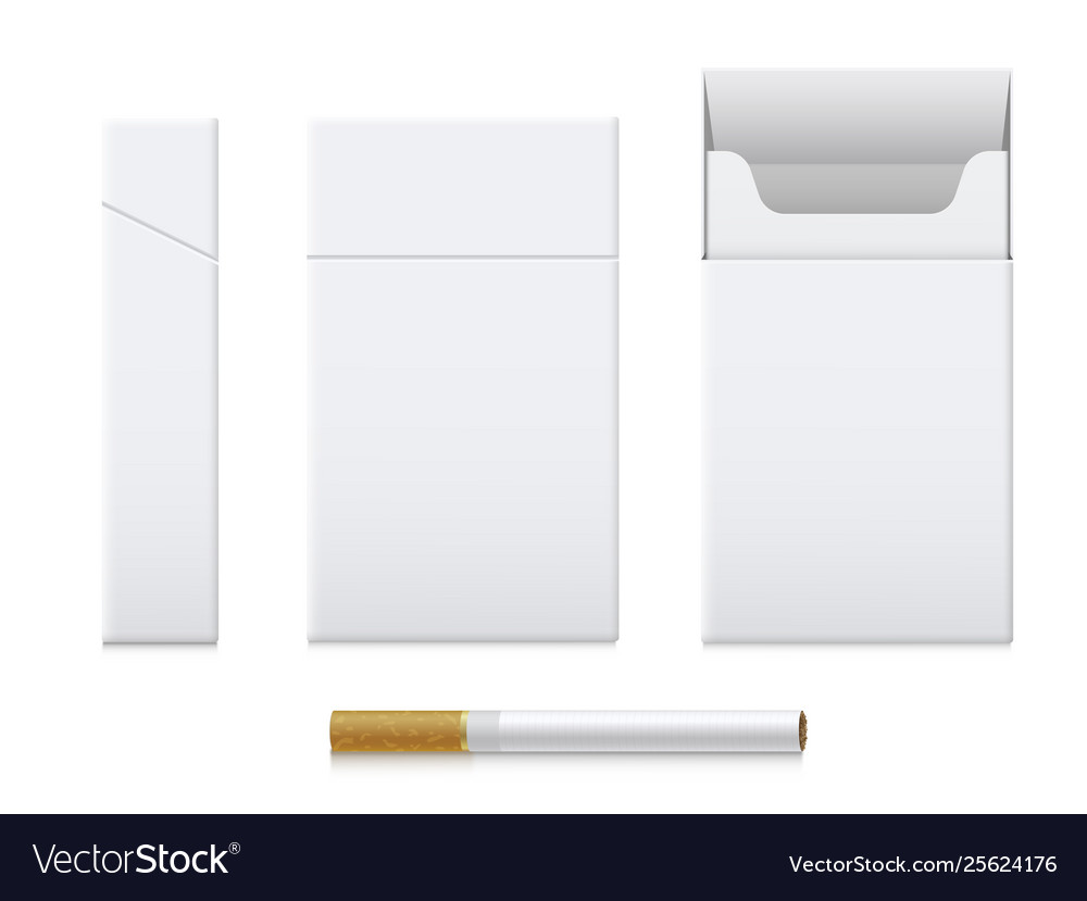 Cigarette pack realistic set cardboard template