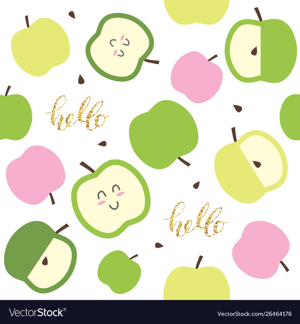 Cute seamless pattern for kids with kawaii apples