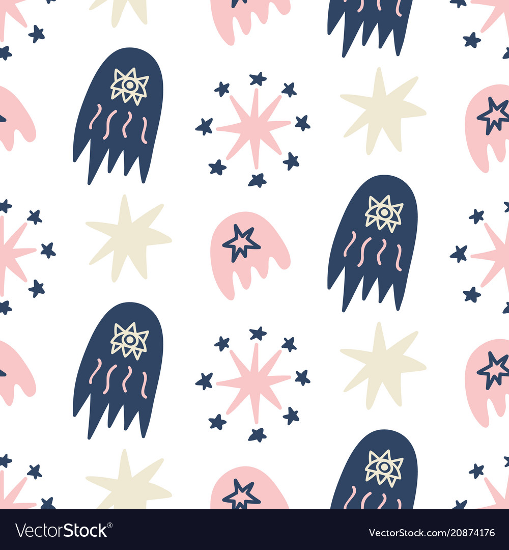 Hand drawn outer space seamless pattern