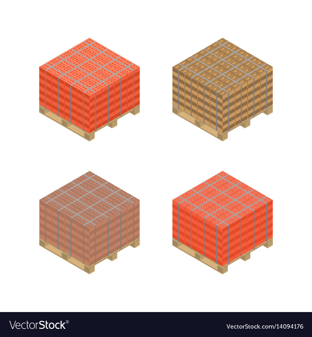Isometric wooden pallet with bricks