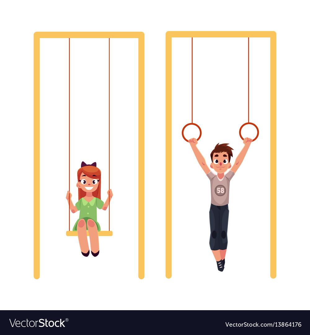 Kids at playground hanging on gymnastic rings