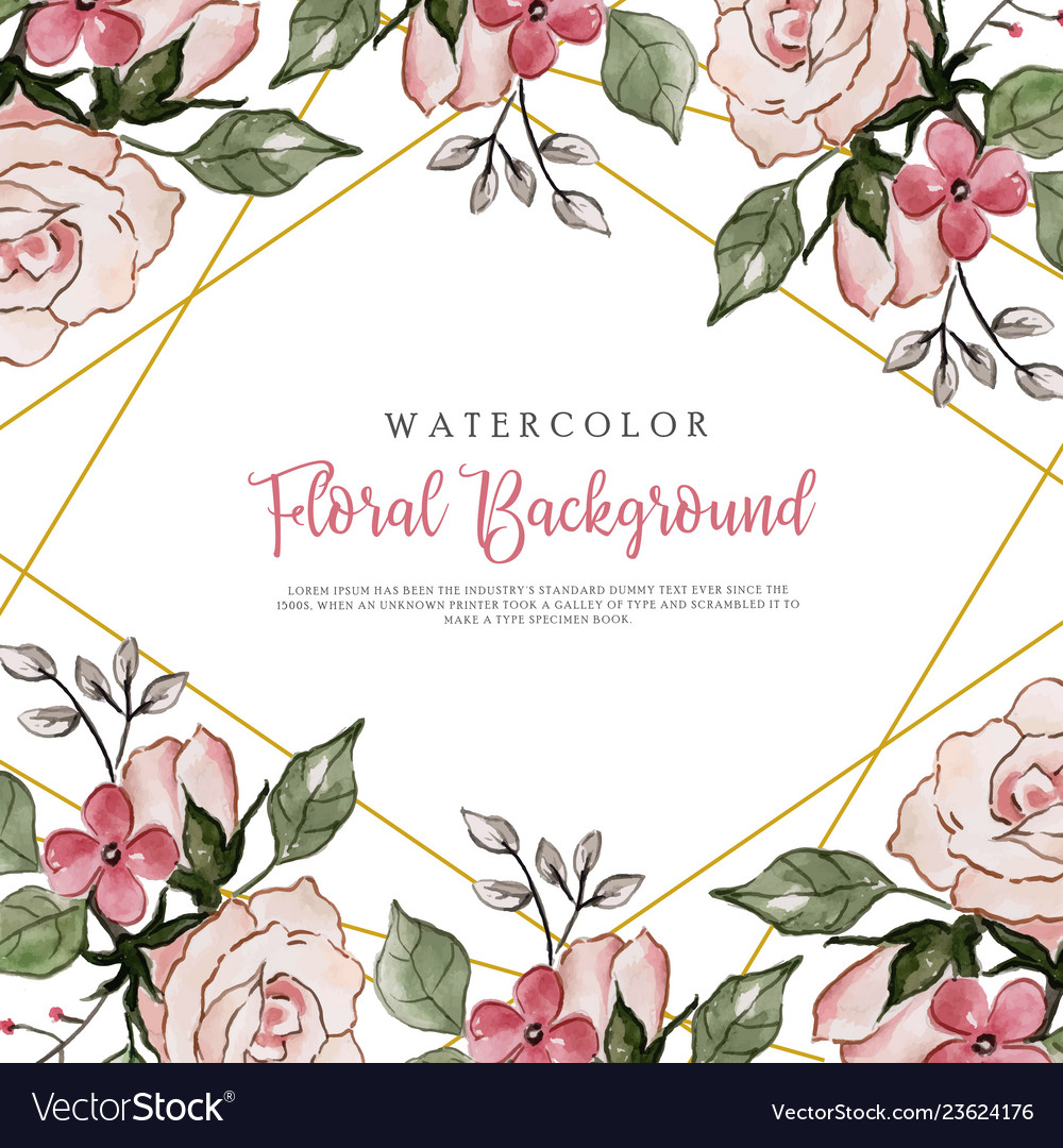 Pink Watercolor Floral Background Royalty Free Vector Image