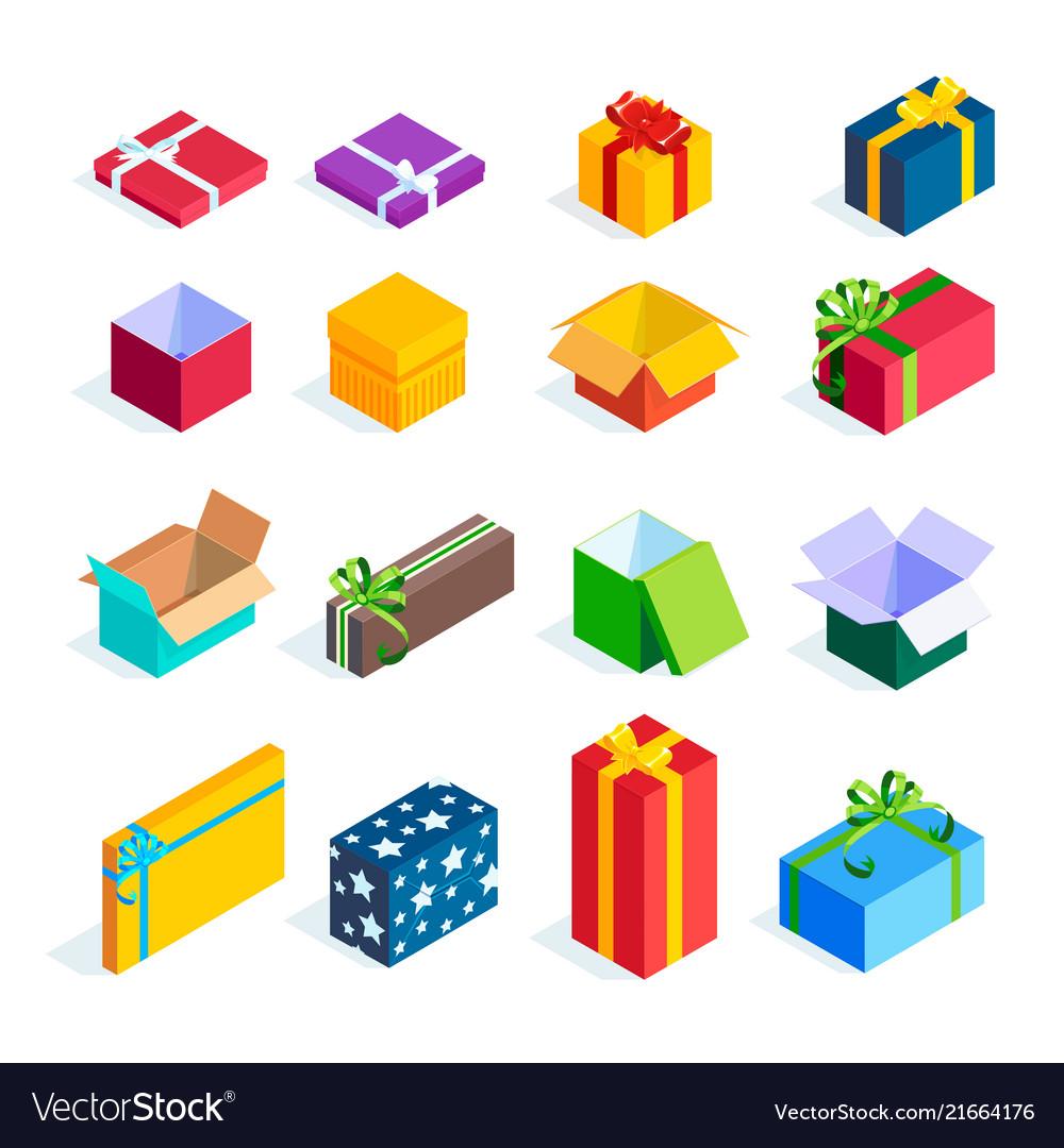 Set of isometric gift boxes isolated