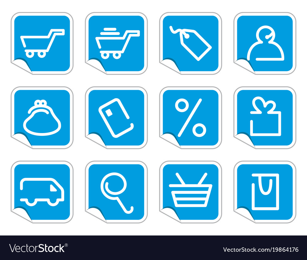 Shopping icon set on stickers