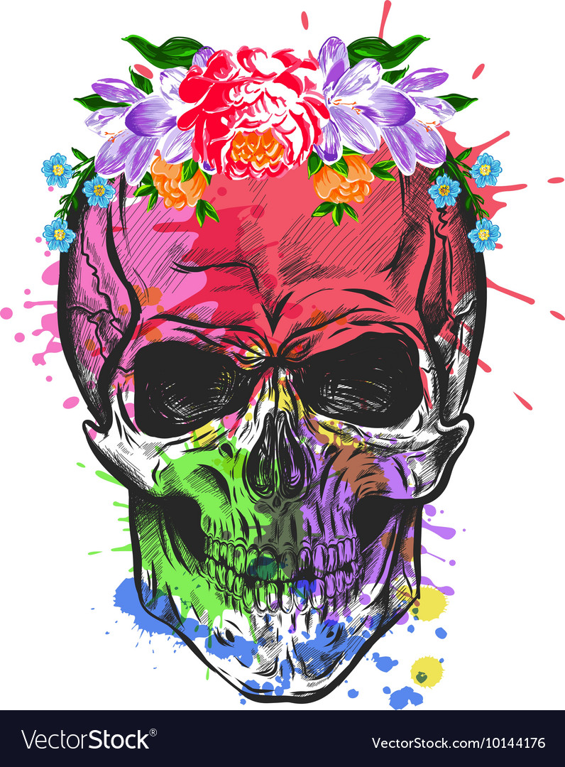Skull And Flowers Sketch With Watercolor Effect
