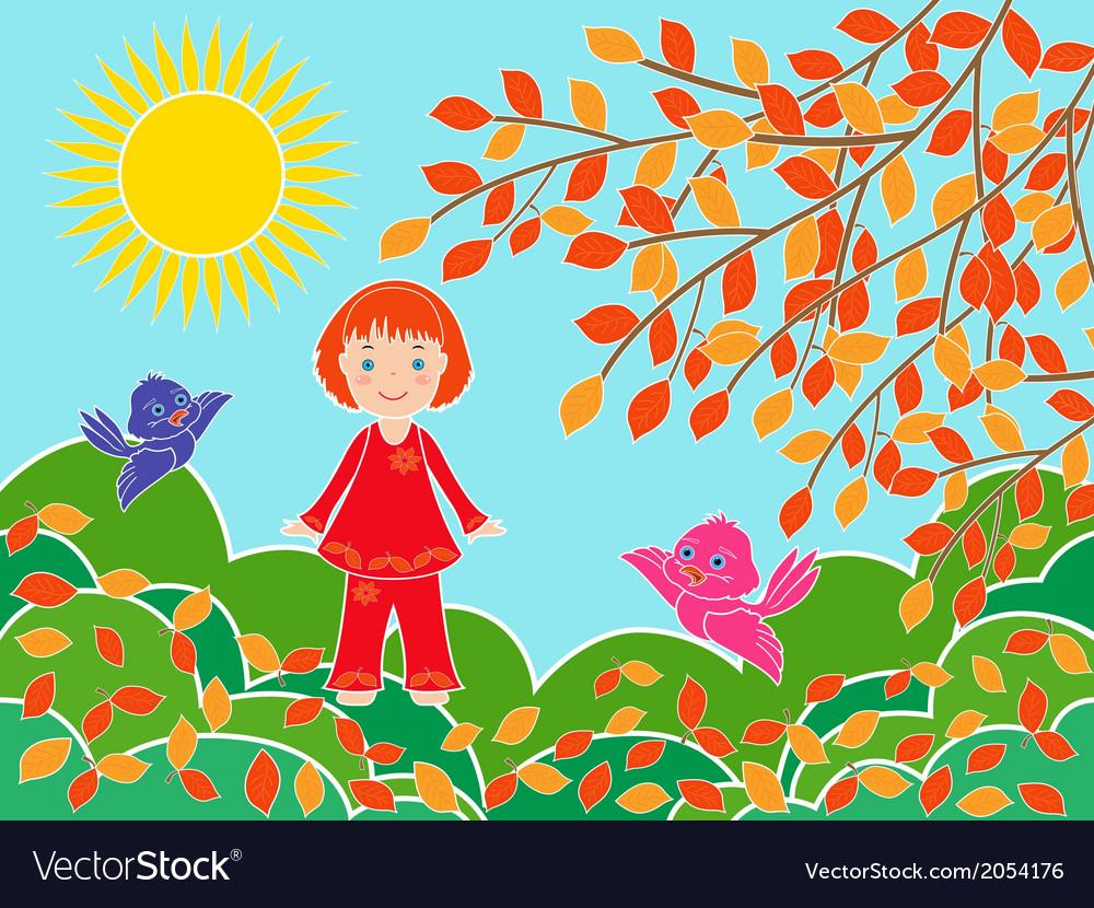 Small girl near tree in sunny autumn day vector image