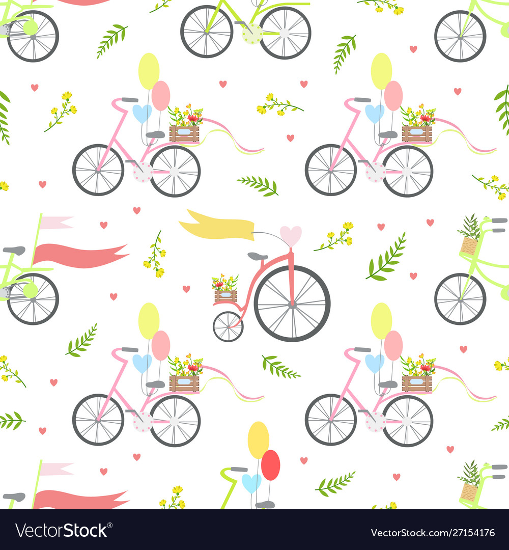 Vintage bikes with flowers and balloons seamless