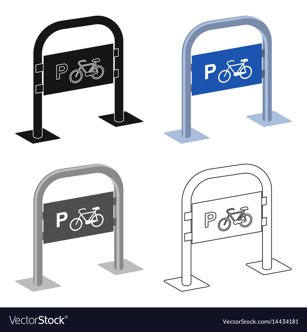 Bicycle parking icon in cartoon style isolated on
