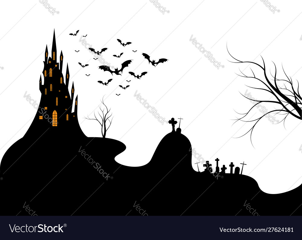 Halloween night background with a cemetery isolate