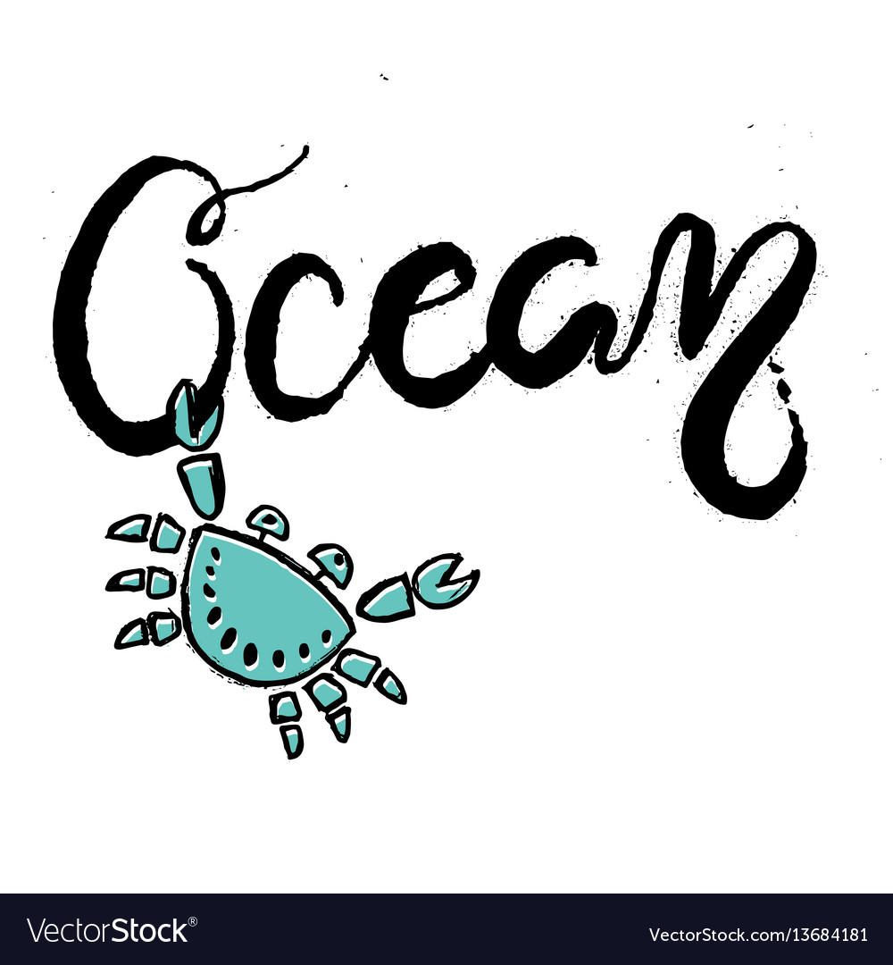 Hand drawn lettering card about ocean