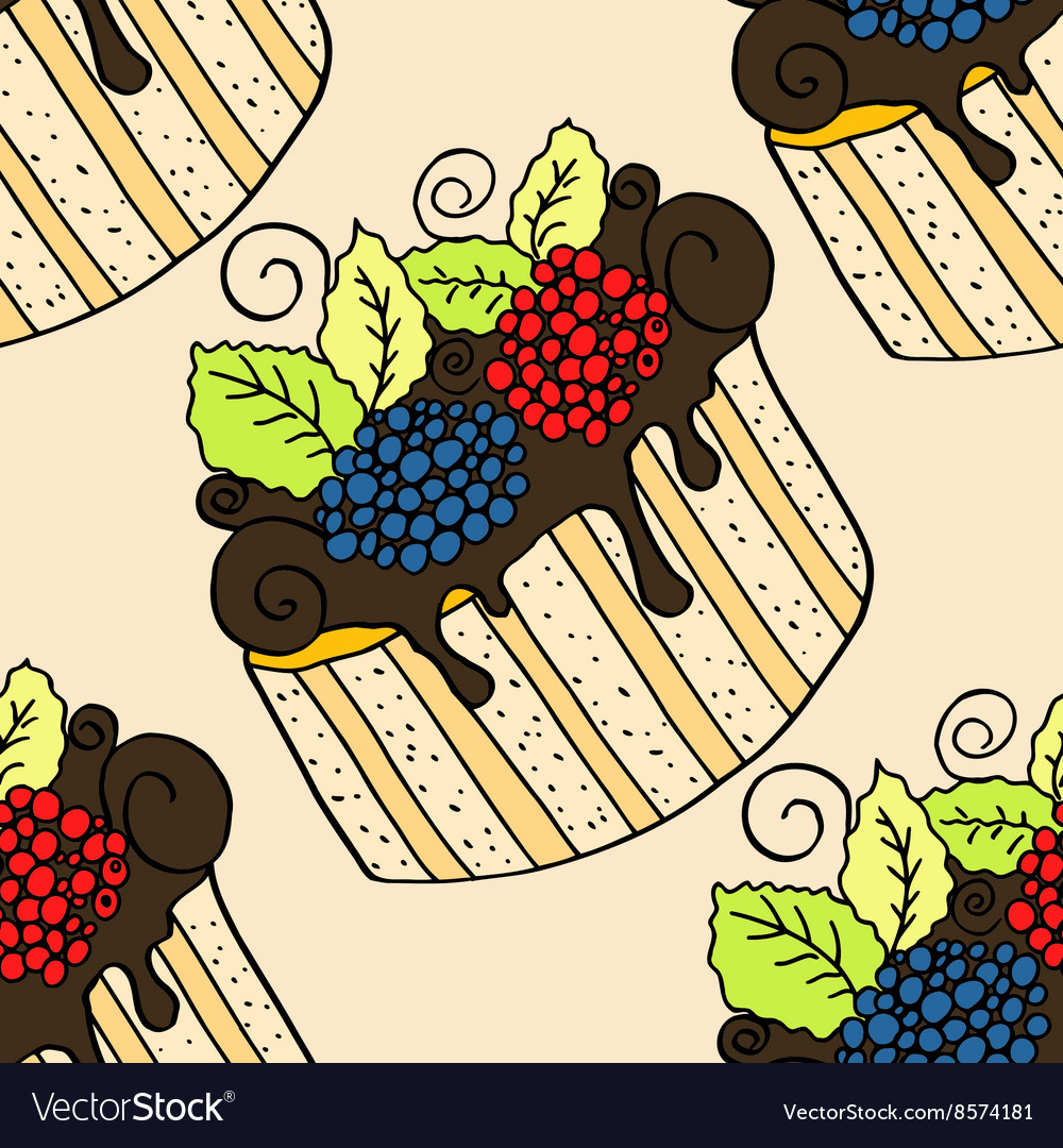 Hand drawn seamless pattern cupcakes
