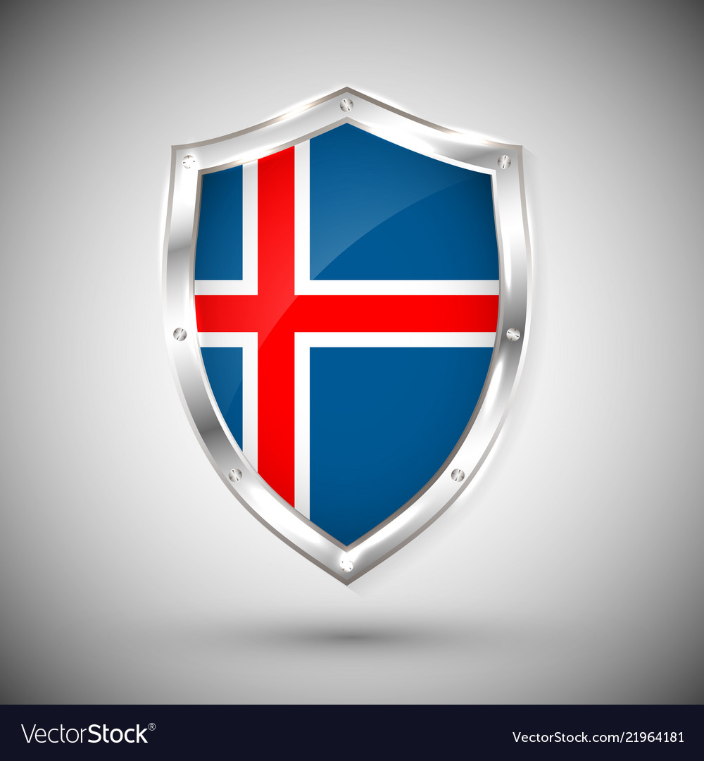 Iceland flag on metal shiny shield collection