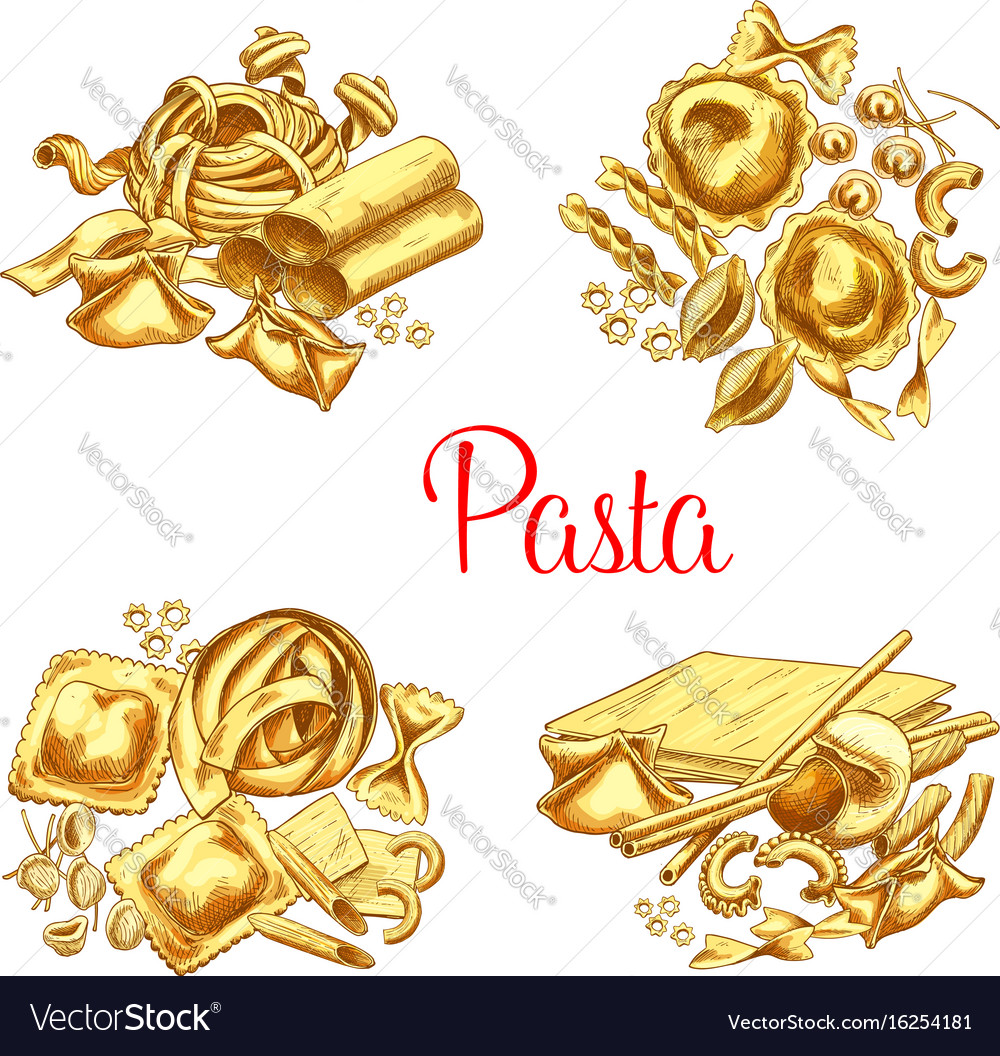 Italian pasta icons set for restaurant
