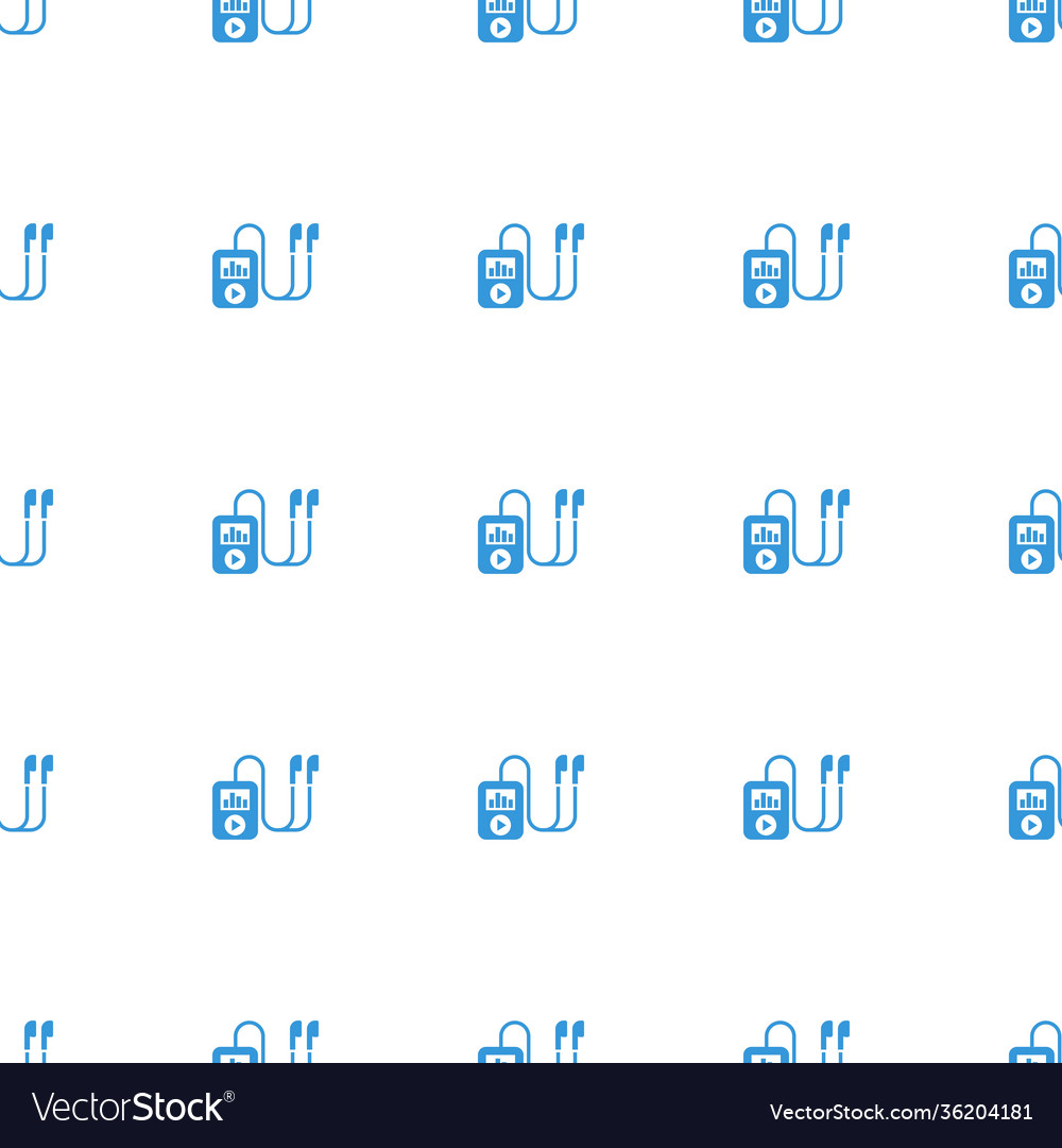 Mp player icon pattern seamless white background