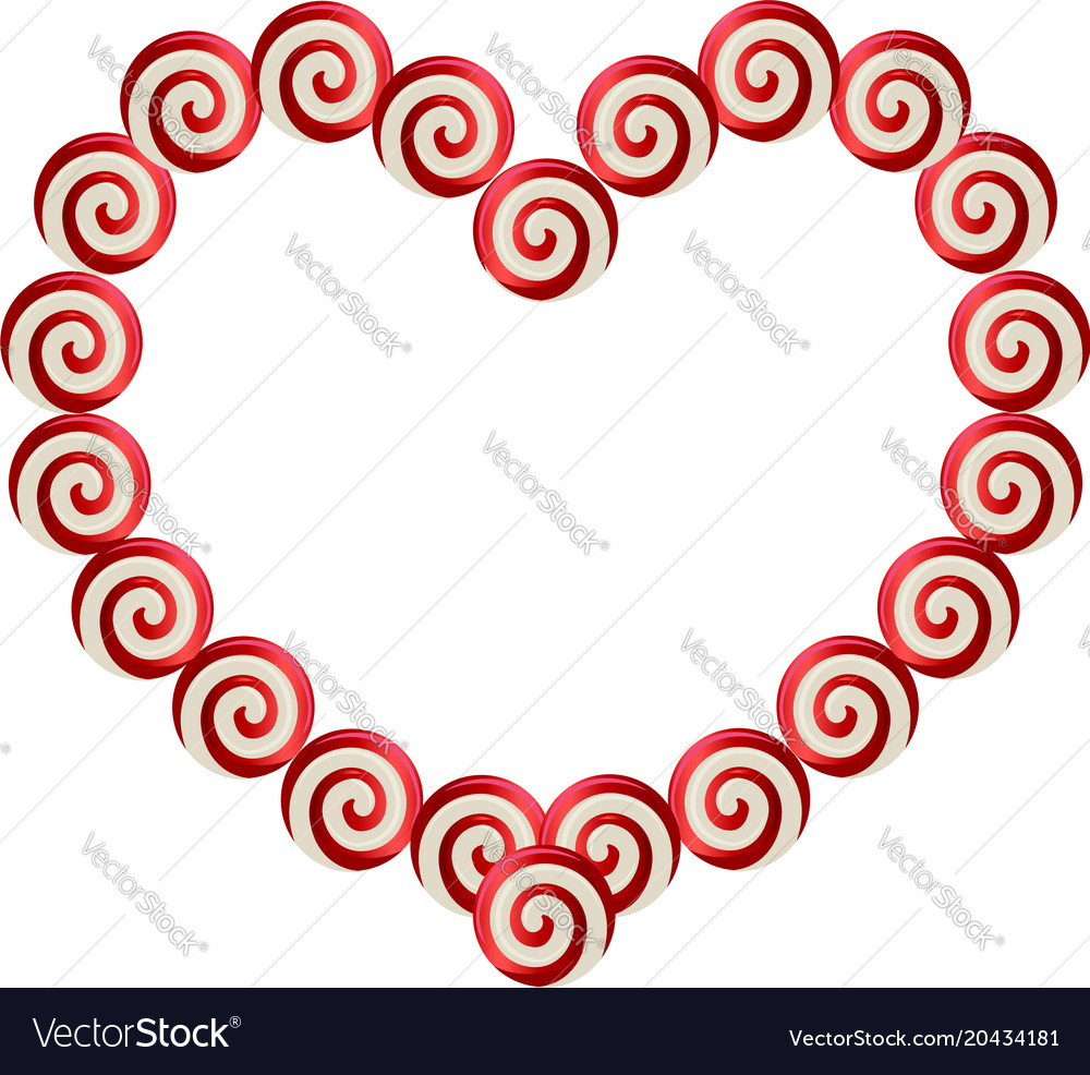 Red and white heart shaped frame made of lolipops Vector Image