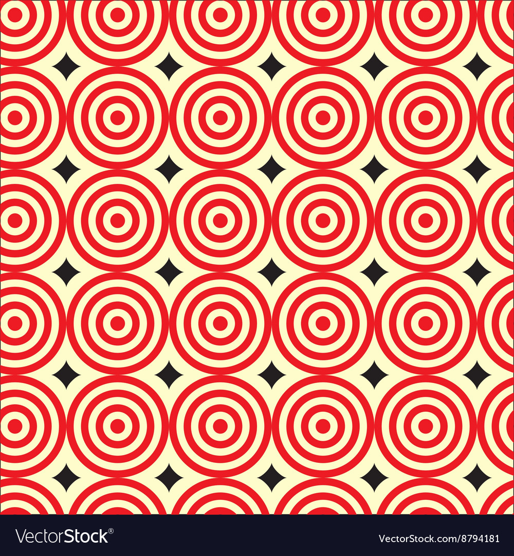 Seamless Pattern Red ripple circle with black diam vector image