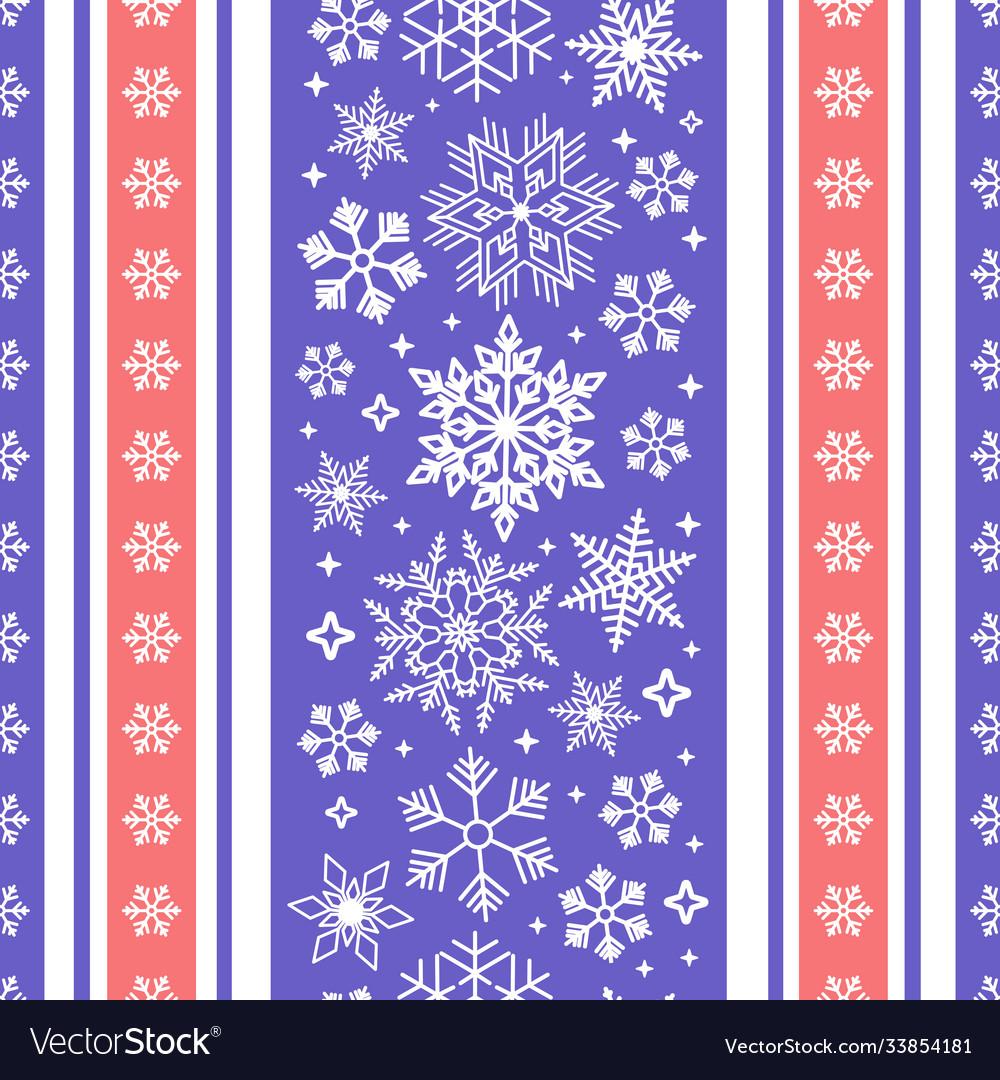 Seamless ribbon with christmas snowflake pattern