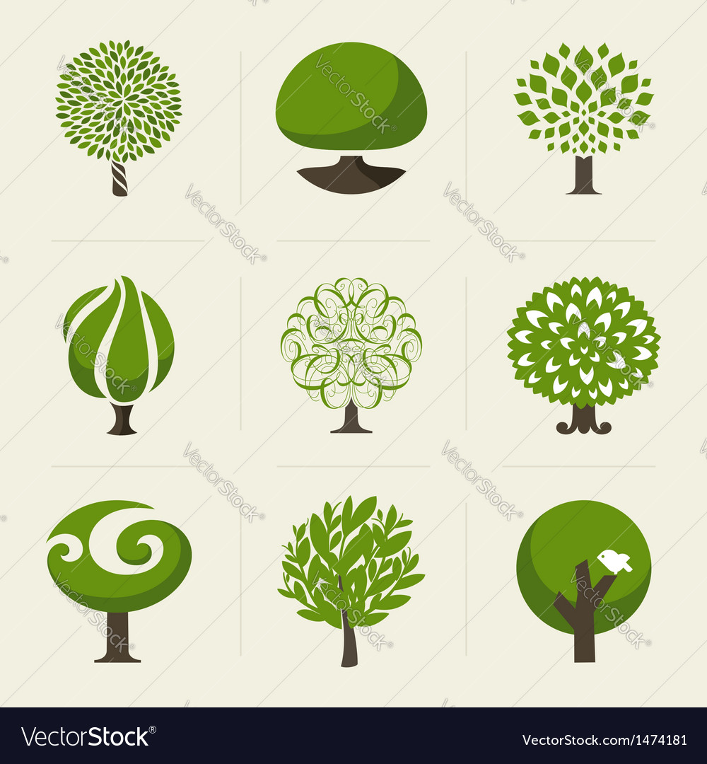 Tree - Collection of design elements vector image