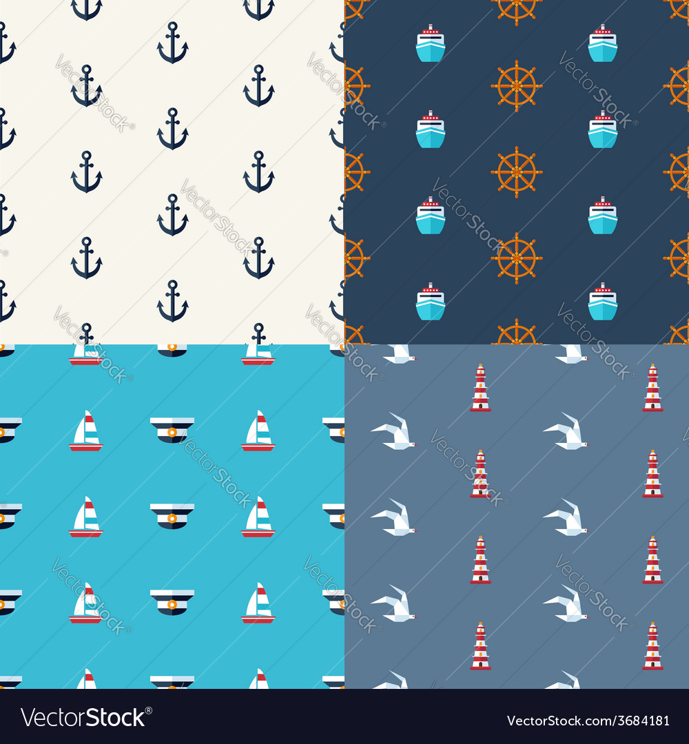 Vintage flat design modern nautical marine pat