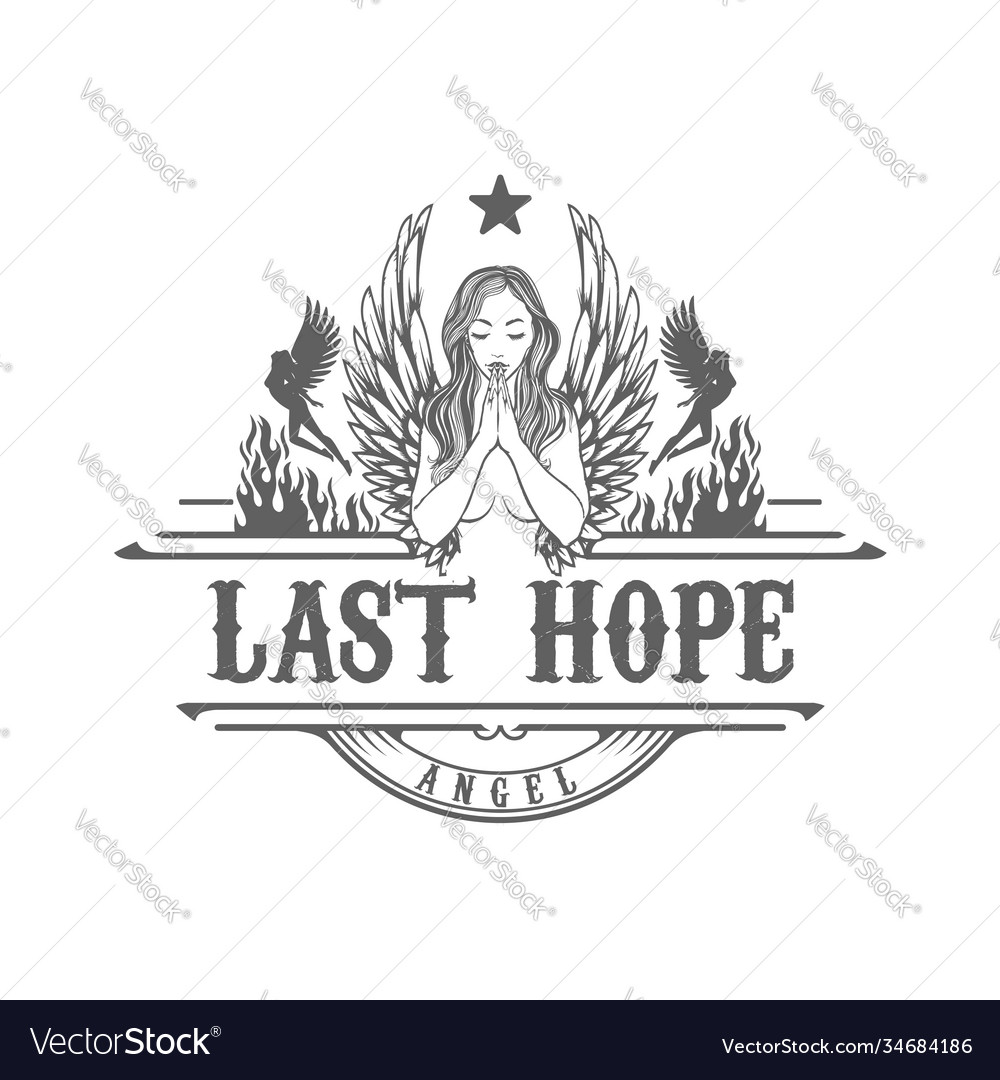 Angel woman girl lady wing pray tattoo logo design