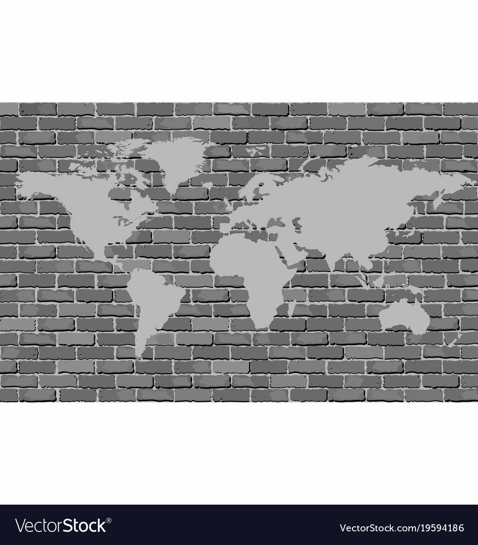 Black and white world map on a brick wall vector image gumiabroncs Image collections