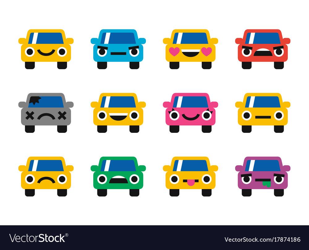 Car emoticon smiles icons set vector image