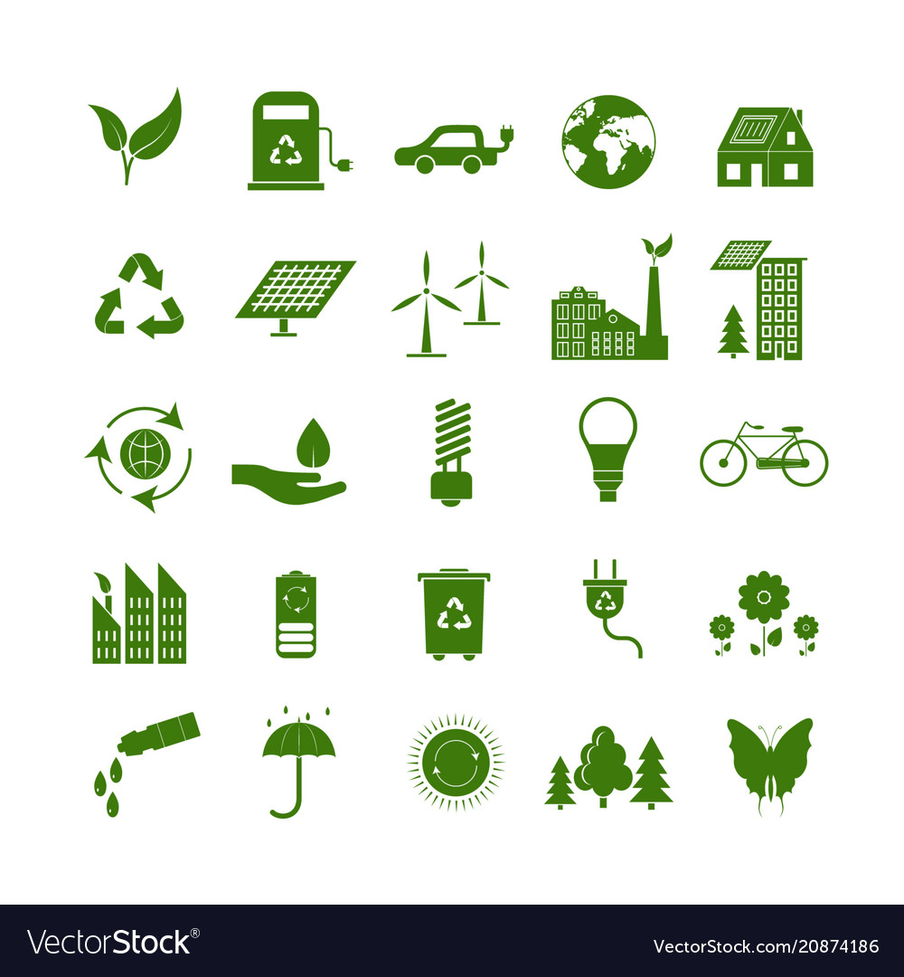 Cartoon ecology signs green icons set