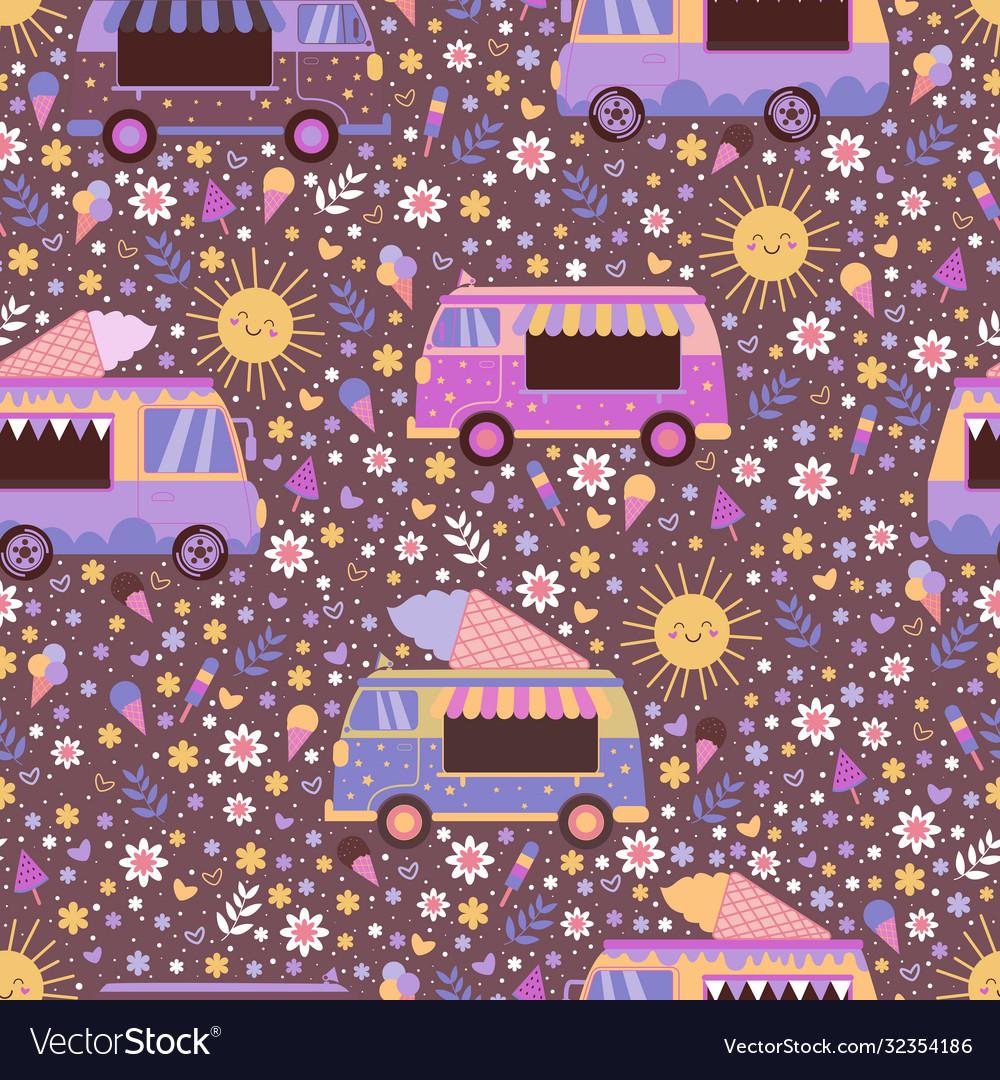 Colorful ice cream trucks seamless pattern