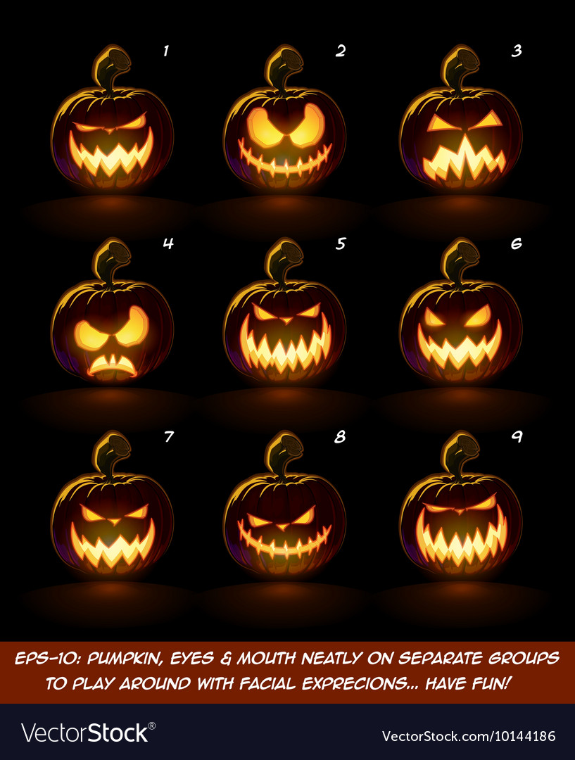 Dark Jack O Lantern Cartoon 9 Scary Expressions