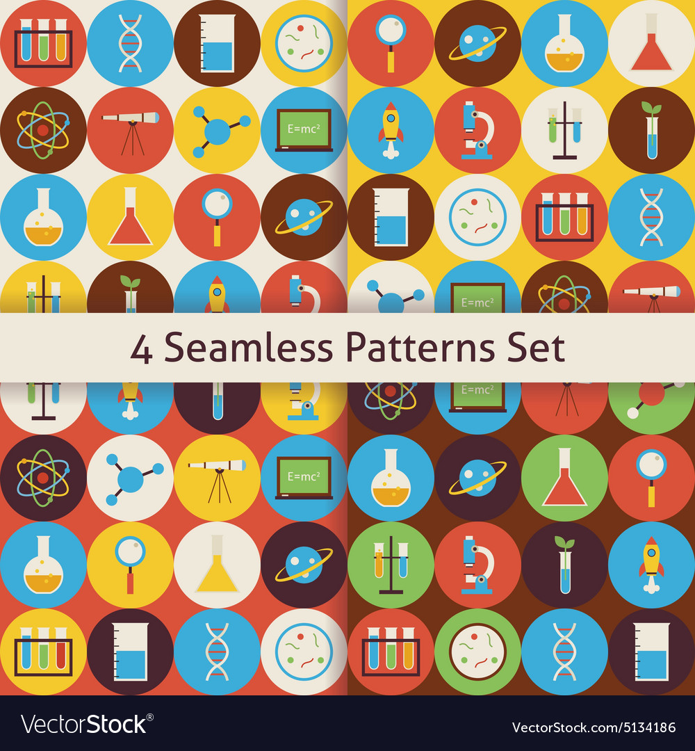 Four Flat Seamless Science and Education Patterns