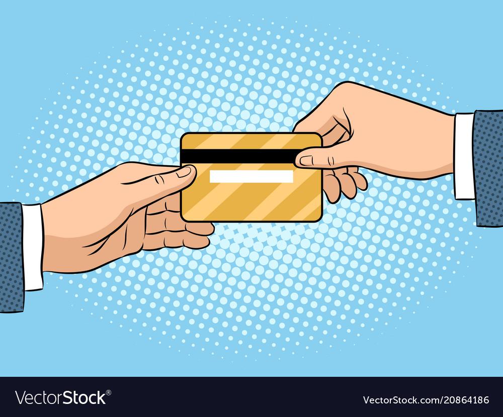 Hand give bank card pop art