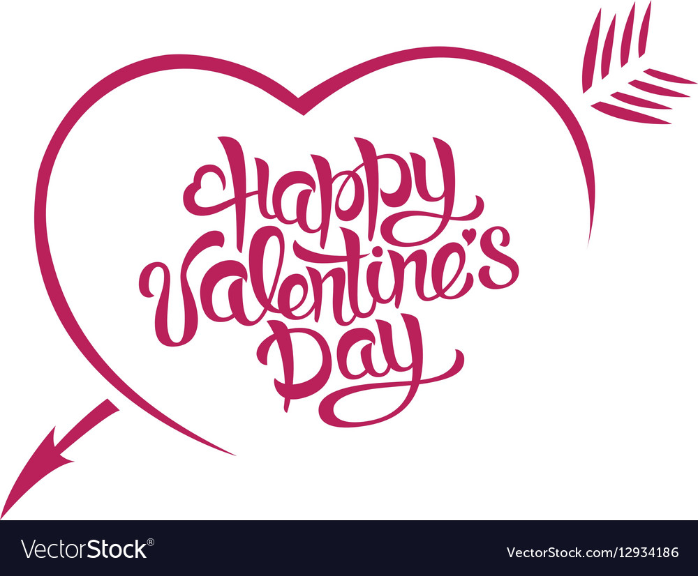 Happy Valentines Day card typography A heart with