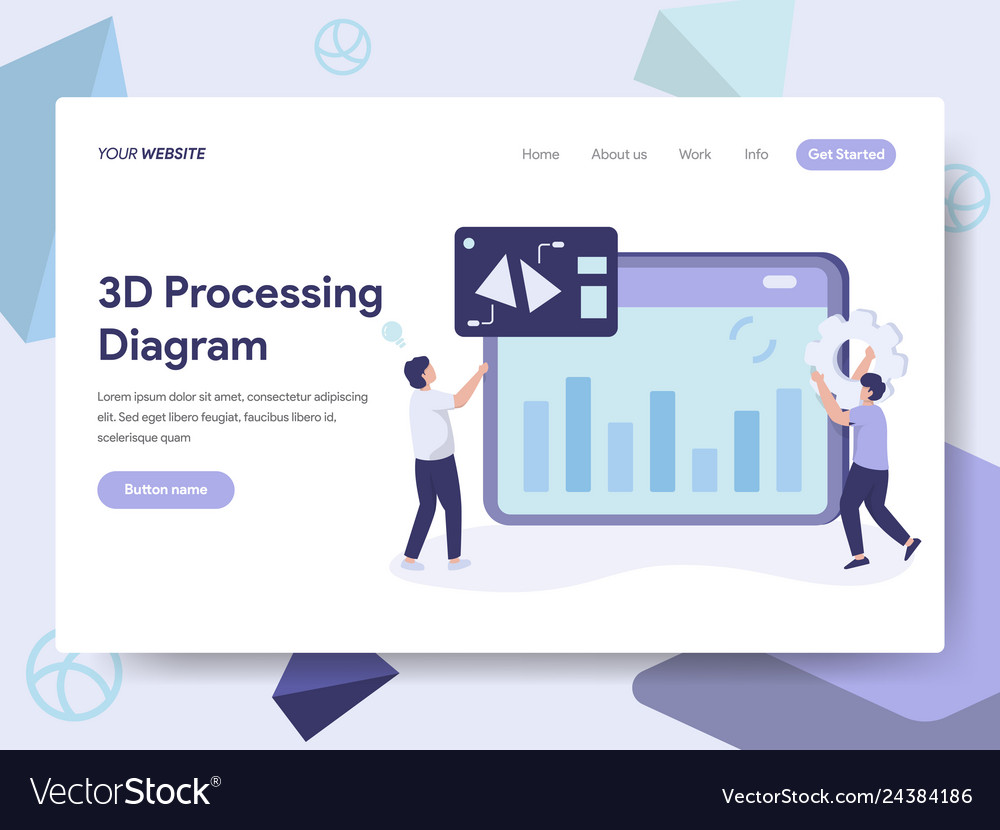Landing page template 3d processing diagram